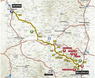 Paris-Nice Stage 4:  Nevers > Belleville, 201.5 km