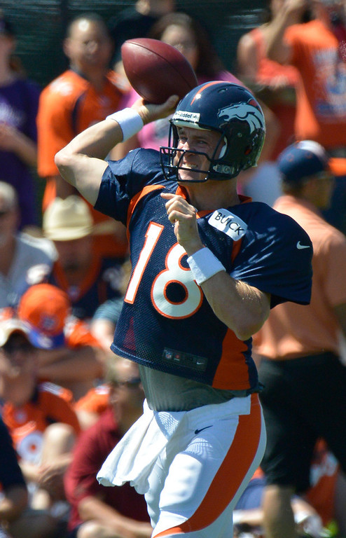 . Denver Broncos QB Peyton Manning (18) drops back to pass during training camp July 31, 2013 at Dove Valley. (Photo By John Leyba/The Denver Post)