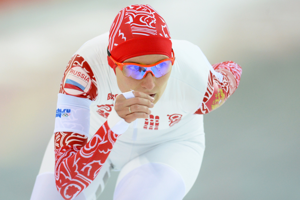 . Russia\'s Anna Chernova competes in the Women\'s Speed Skating 5000 m at the Adler Arena during the Sochi Winter Olympics on February 19, 2014.  (ANDREJ ISAKOVIC/AFP/Getty Images)