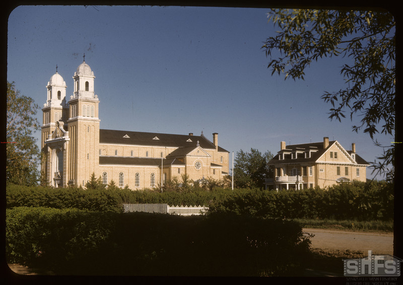 Cathedral & rectory. Gravelbourg.   06/11/1947