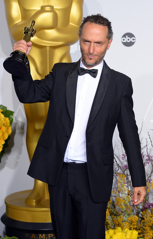 ". Emmanuel Lubezki accept the Award for ""Achievement in Cinematography\"" for the film Gravity,  backstage at the 86th Academy Awards at the Dolby Theatre in Hollywood, California on Sunday March 2, 2014 (Photo by David Crane / Los Angeles Daily News)"