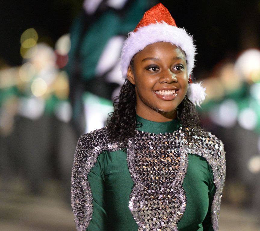 . The 60th annual Daisy Avenue Parade in the Wrigley neighborhood Saturday, December 13, 2013, in Long Beach, CA.   A member of the  Cabrillo High Marching Jaguars takes part in the parade. Photo by Steve McCrank/DailyBreeze