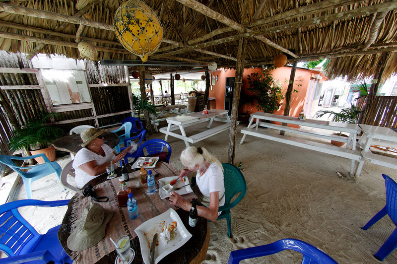 Enjoying lunch at Rose's Grill on Caye Caulker