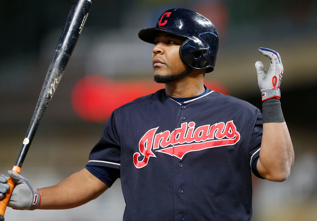. Cleveland Indians\' Edwin Encarnacion reacts as he strikes out seining against the Minnesota Twins in the ninth inning of a baseball game Monday, April 17, 2017, in Minneapolis. The Indians won 3-1. (AP Photo/Jim Mone)