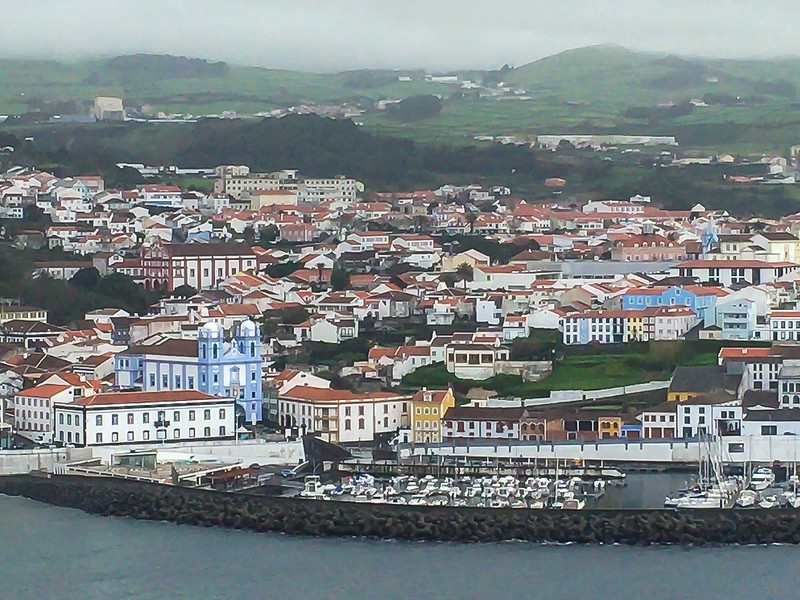 Looking back at Angra do Heroísmo from Monte Brasil hike (http://trails.visitazores.com/en/trails-azores/terceira/monte-brasil)