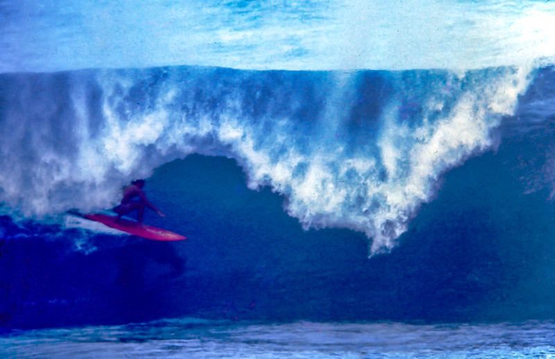 Gerry Lopez riding his Lightning Bolt single fin.