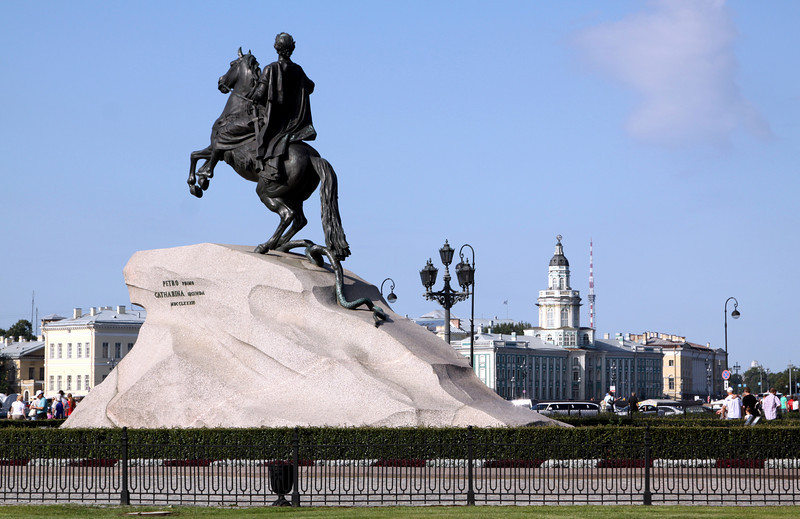 The Bronze Horseman is a statue of Peter the Great in Senate Square on the banks of the Neva river.  It took 12 years, from 1770 to 1782, to create the statue, including pedestal, horse and rider.  The blue building in the background (on the opposite on the Neva river) is the Museum of Antropology and Ethnography.
