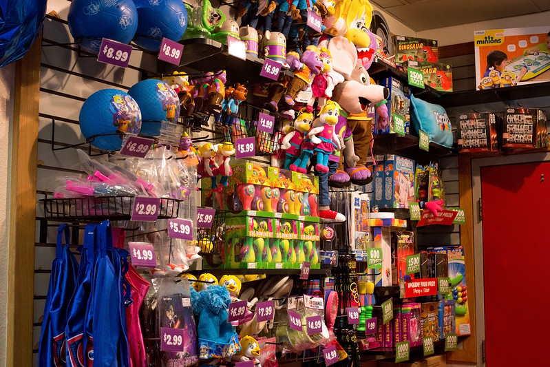 best summer birthday parties merchandise counter at Chuck E. Cheese's