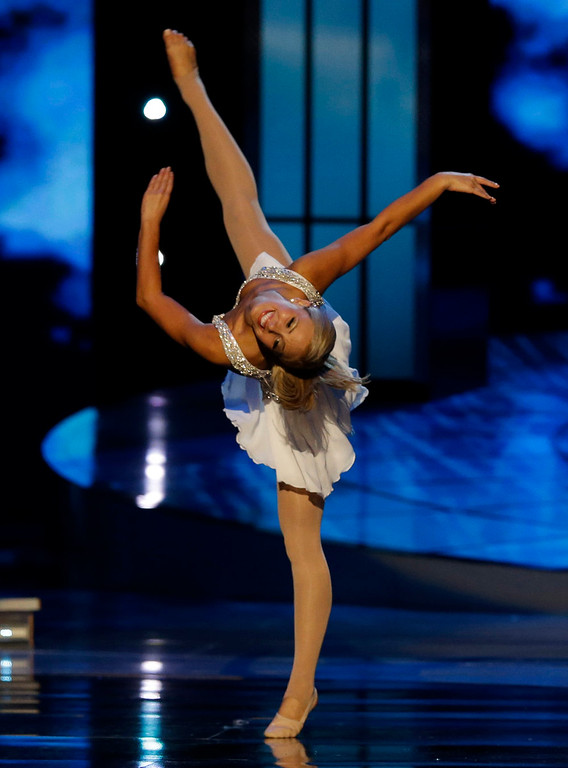 . Miss Florida Victoria Cowen dances during the talent portion of the Miss America 2015 pageant, Sunday, Sept. 14, 2014, in Atlantic City, N.J. (AP Photo/Mel Evans)