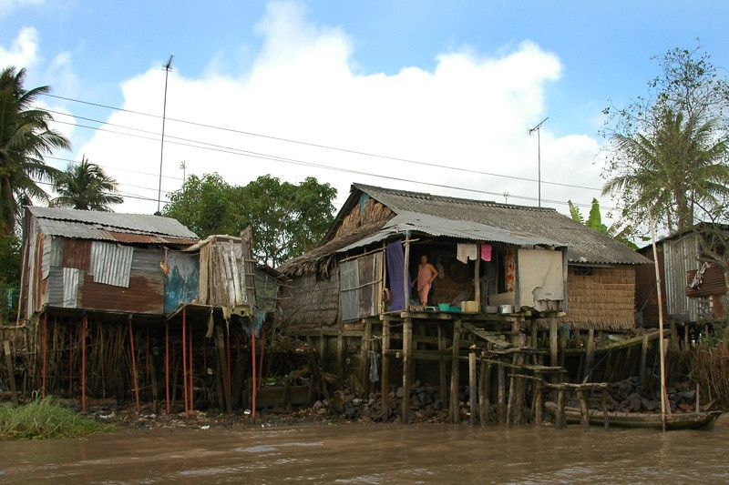 Houses Along the River - Mekong Delta, Vietnam