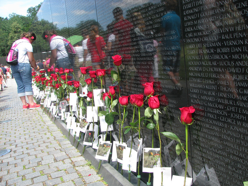 Sarina reading the cards set out at the Vietnam Wall on Father's Day