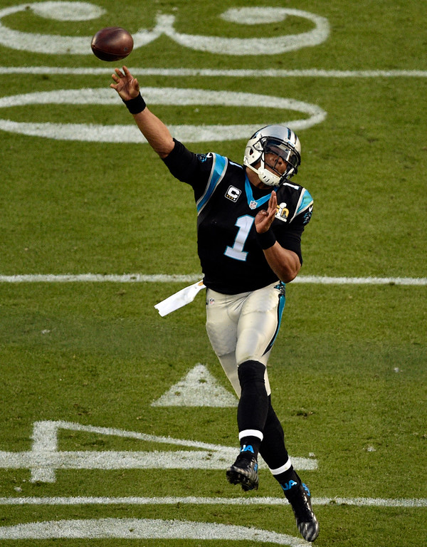 . SANTA CLARA, CA - FEBRUARY 7: Cam Newton (1) of the Carolina Panthers passes the ball for an incomplete pass in the second quarter.  The Denver Broncos played the Carolina Panthers in Super Bowl 50 at Levi\'s Stadium in Santa Clara, Calif. on February 7, 2016. (Photo by Helen H. Richardson/The Denver Post)