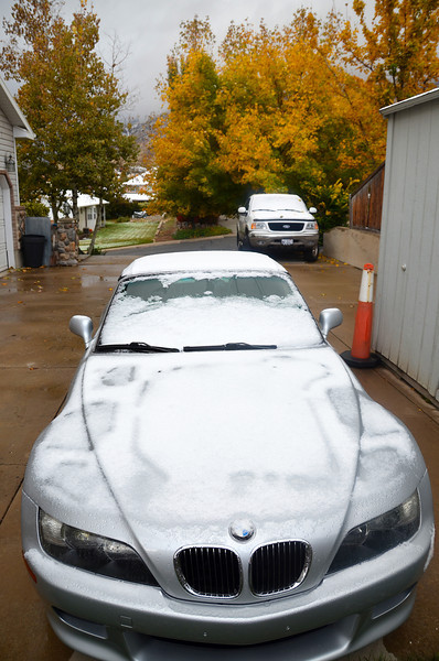 2012-10-25 ––– We got our first snow down to the valley floor, or at least down to the bench. This is what I woke up to. Not great for a fabric convertible top. Luckily it melted and dried out fast.
