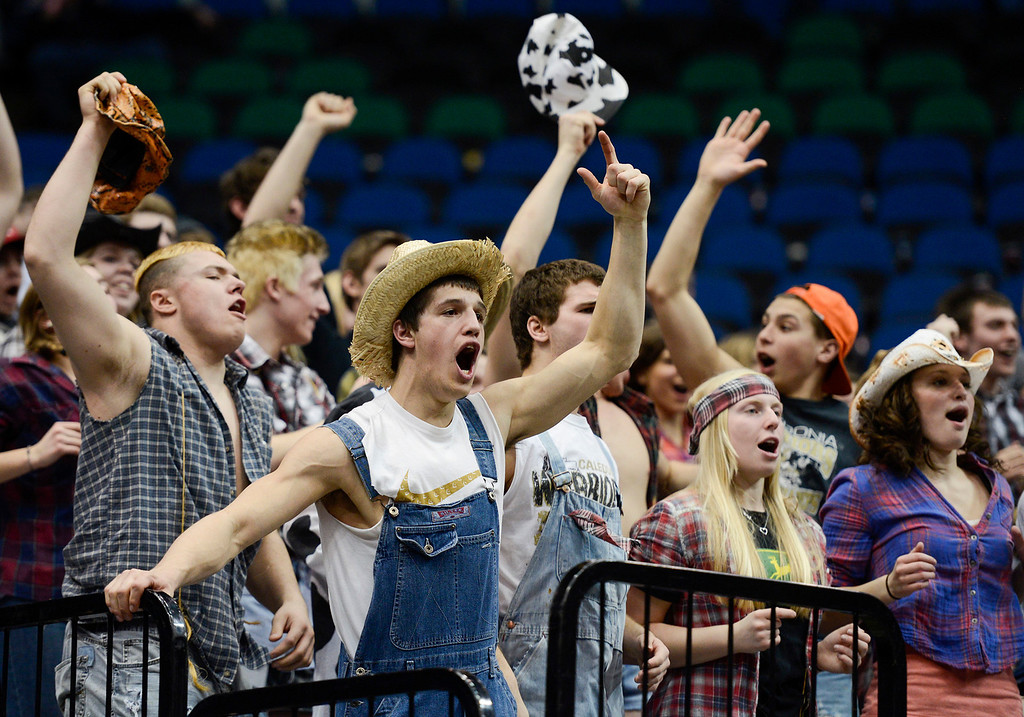 . Caledonia Warriors fans cheer as their team scores during the first half. (Special to the Pioneer Press: Matt Mead)