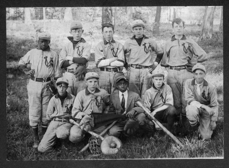 "1913 Unionville Baseball Team. Player's names and ""league"" scorecard are in an adjacent image."