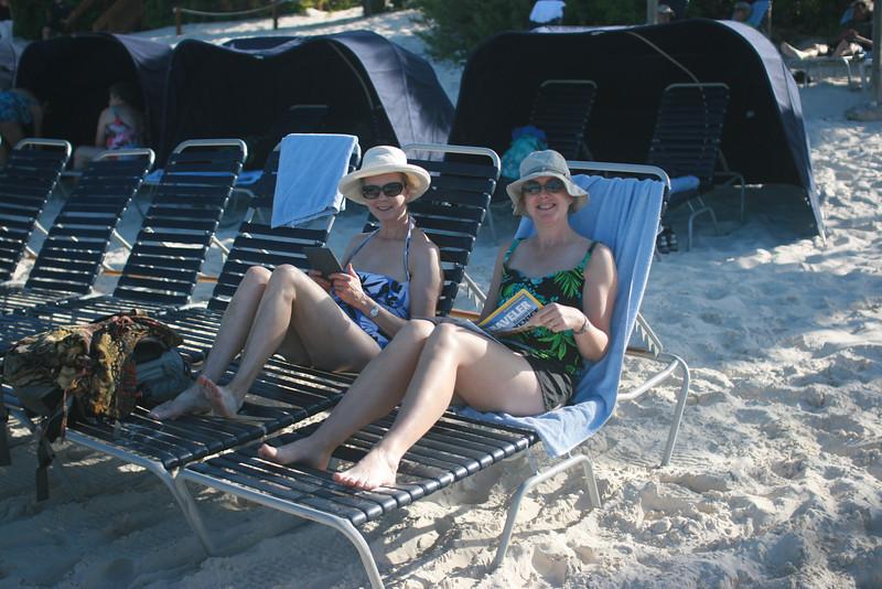 Reading on the beach at Half Moon Cay, Bahamas