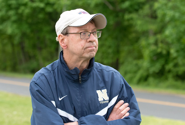 05/09/19 Wesley Bunnell | Staff Newington boys tennis defeated New Britain at New Britain High School on Thursday afternoon. Newington's Head Coach Don Luwkowski.