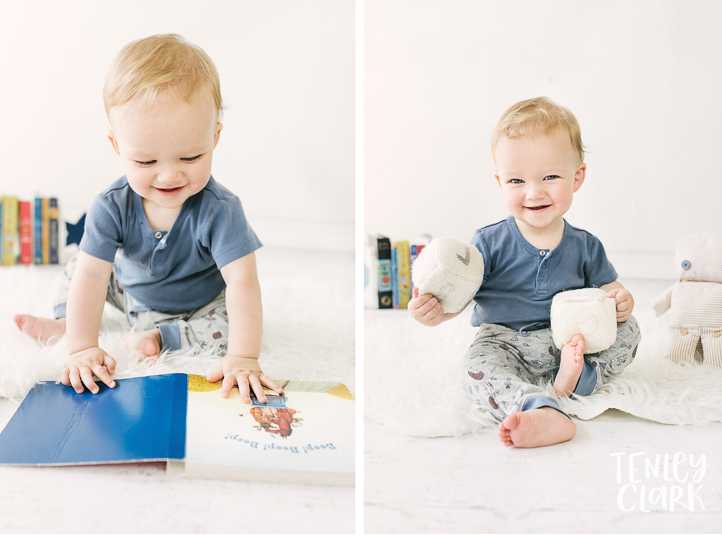 Colorful studio baby boy model headshot portfolio commercial photoshoot-JE Kids -San Jose, CA by Tenley Clark Photography. Baby reading.