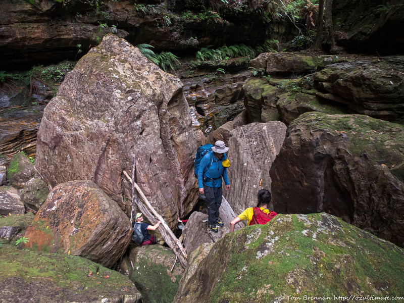 Routefinding through the biggest boulder choke in Yarramun. Since we did this two days ago, it's much quicker this time!