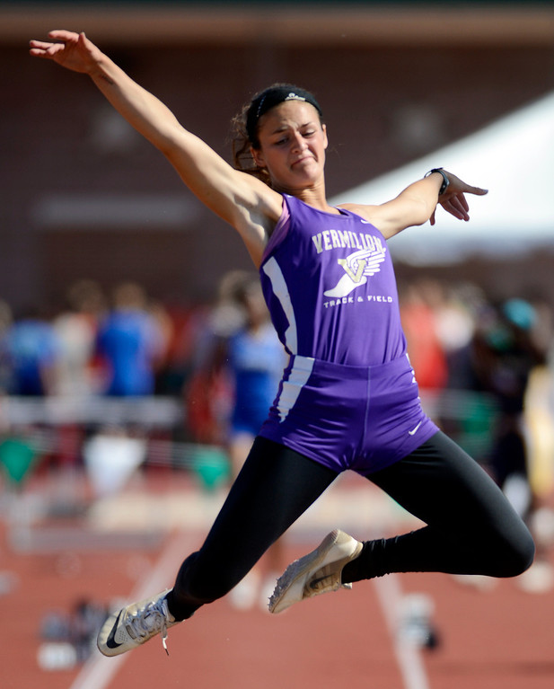 . Maribeth Joeright/MJoeright@News-Herald.com <p> Vermillion\'s Hannah Bartlome wins the runner-up title in the Division II girls long jump during the  state track and field championship meet in Columbus,  June 7, 2014.
