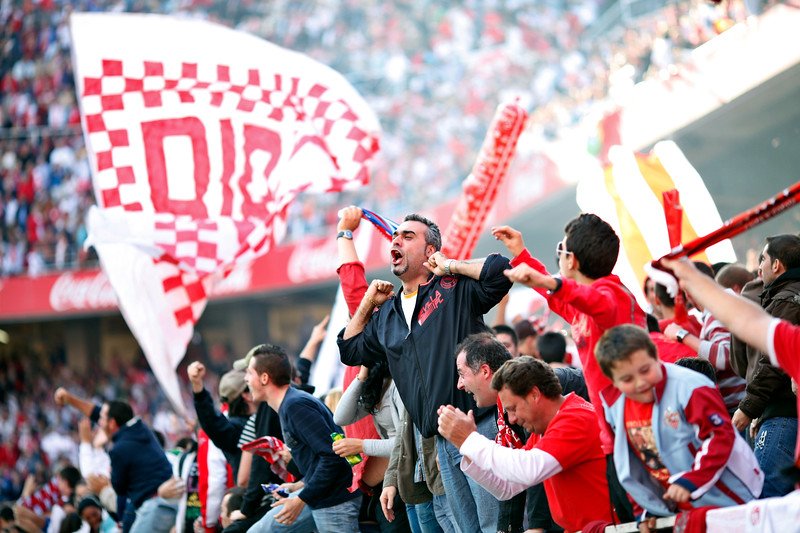 Sevilla FC radical fans, AKA as Biris, celebrating a goal. Spanish Liga football game between Sevilla FC and Real Madrid CF that took place at Sanchez Pizjuan stadium, Seville, Spain, on 26 April 2009