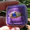 1.75ctw Cab Sapphire and Old European Cut Diamond 3-stone Ring 23