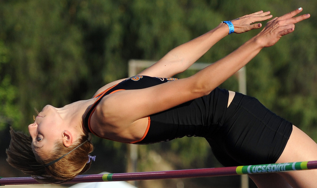 . Claire Kieffer-Wright of South Pasadena wins with a jump of 6 ft. and breaks a 29 year-old meet record set by olympian Amy Acuff during the Mt. SAC Relays in Hilmer Lodge Stadium on the campus of Mt. San Antonio College on Saturday, April 20, 2012 in Walnut, Calif.    (Keith Birmingham/Pasadena Star-News)