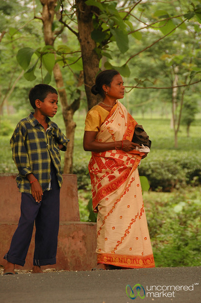 Mother and Son Waiting at the Road - West Bengal, India