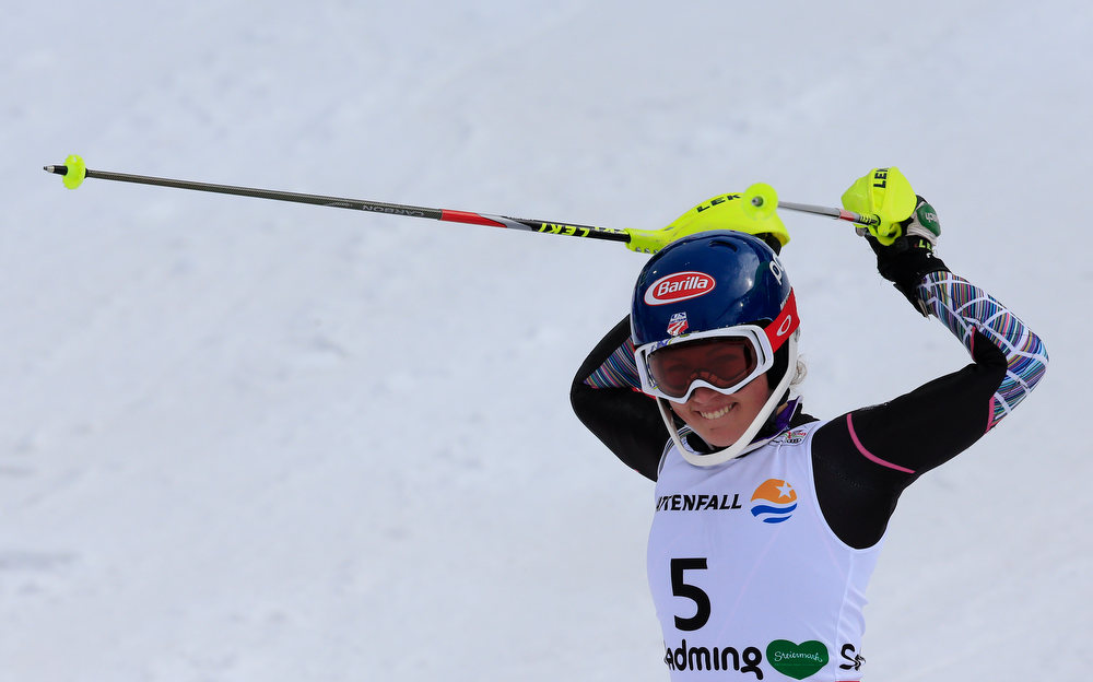 Description of . Mikaela Shiffrin from the US reacts after competing in the women's slalom at the 2013 Ski World Championships in Schladming, Austria on February 16, 2013.  ALEXANDER KLEIN/AFP/Getty Images