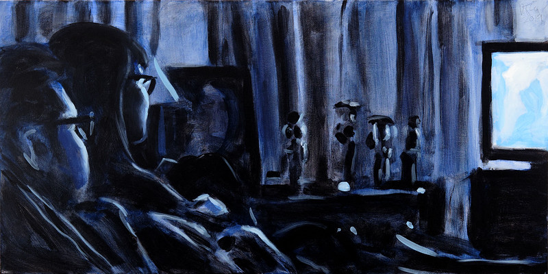 Watchers (blue version 2), acrylic on canvas, 24 x 48 in, 2019