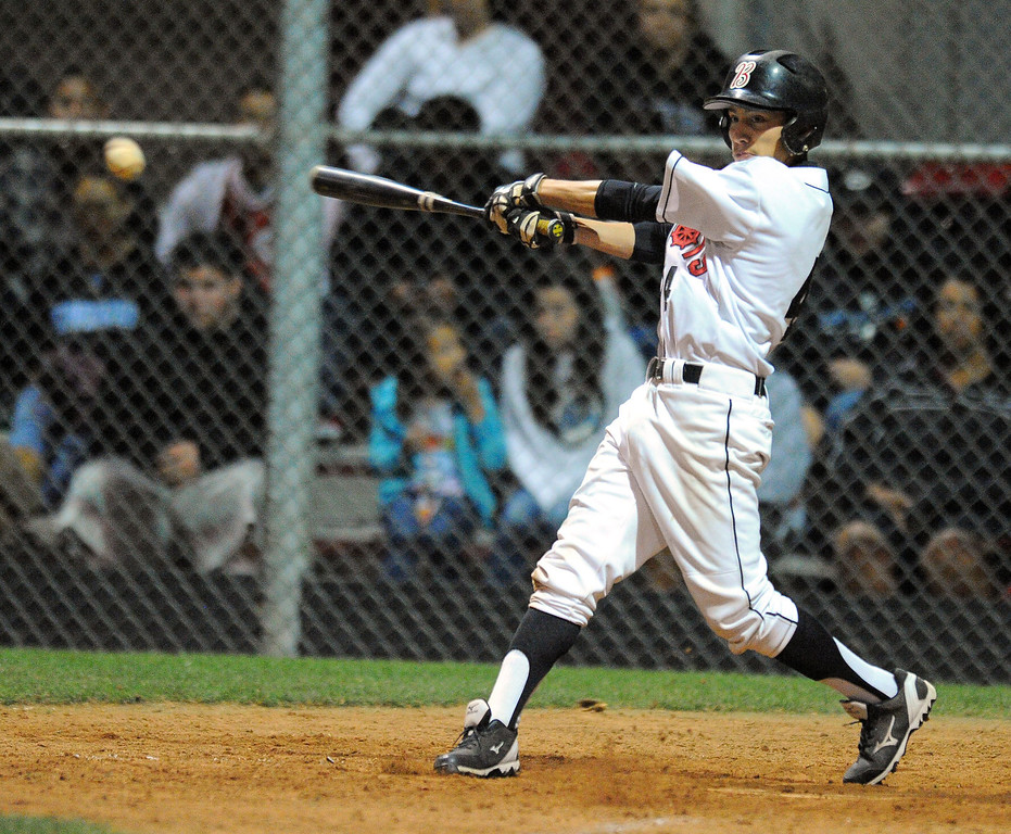 . WILMINGTON - 05/02/2013  (Photo: Scott Varley, Los Angeles Newspaper Group)  Carson vs Banning baseball at Banning High. Banning\'s David Guerrero hits a single in the 4th.