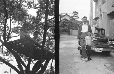 The famous tree house that Ron and Emile built in a tree across from our house in Higashi-Tamagawa.  Next photo is of Poppa Emil and son Emile in front of our Scottish neighbor's Nissan Cedric automobile.  Our house is on the corner behind the car in this Japanese neighborhood.  I think we were the only 'Geijans' living in the immediate area. Higashi-Tamagawa,-1966.