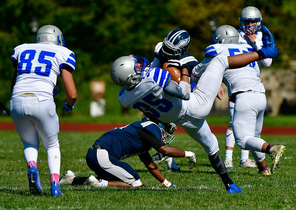 10/5/2019 Mike Orazzi | StaffrBristol Eastern's Dylan rGarcia (35) during Saturday's football game with Hartford Public in Hartford.