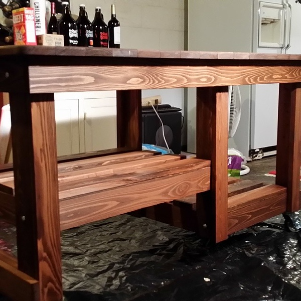 Staining my new Big Green Egg table. Thanks @lilredroosta #BGE