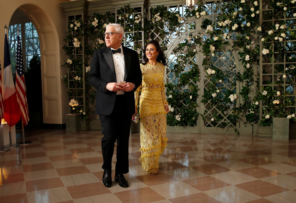 . David Rubenstein and Gabrielle Rubenstein arrives for a State Dinner with French President Emmanuel Macron and President Donald Trump at the White House, Tuesday, April 24, 2018, in Washington. (AP Photo/Alex Brandon)