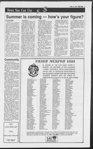 Daily Trojan, Vol. 119, No. 59, April 16, 1993