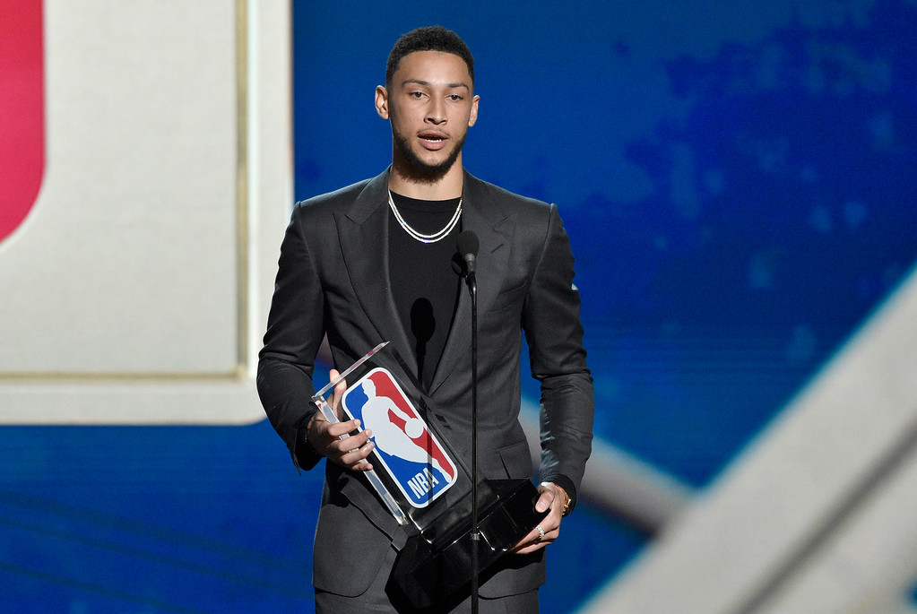 . Ben Simmons, of the Philadelphia 76ers, accepts the rookie of the year award at the NBA Awards on Monday, June 25, 2018, at the Barker Hangar in Santa Monica, Calif. (Photo by Chris Pizzello/Invision/AP)