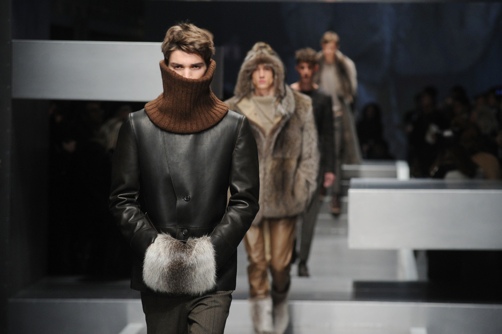 Description of . Models walk the runway during the Fendi  show as part of Milan Fashion Week Menswear Autumn/Winter 2013 on January 14, 2013 in Milan, Italy  (Photo by Pier Marco Tacca/Getty Images)