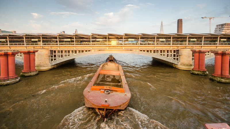 Barge under #Blackfriars Bridge