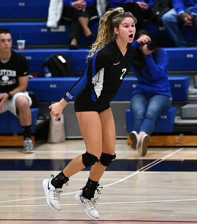 11/7/2019 Mike Orazzi | StaffrBristol Eastern's Zoe Lowe (7) during the CCC girls volleyball tournament at Avon High School on Thursday.