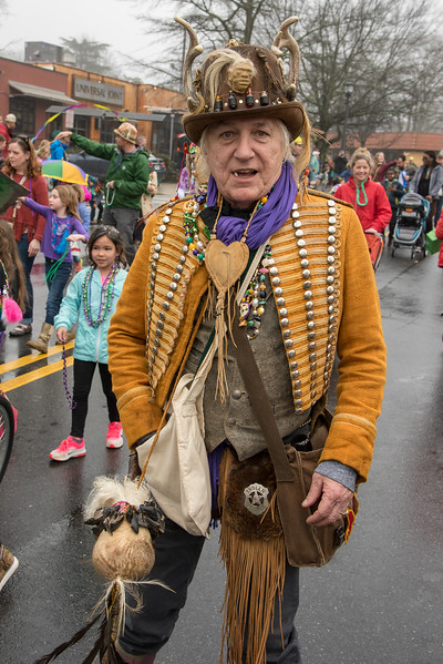 The Voodoo Dr, alias Tim Embry, offered everyone in the crowd curses or releases for just two chickens at the 2018 Mead Rd. Mardi Gras parade in Decatur