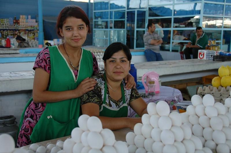 Egg Vendors at Market - Turkmenbashi, Turkmenistan