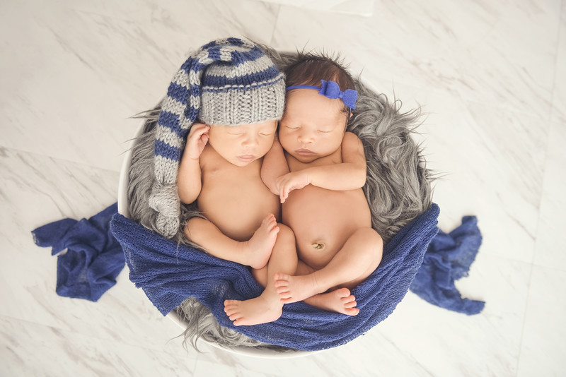 Navy Blue and Grey Newborn Photography