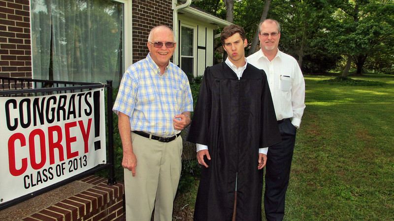 May 2013 - Corey Bradley Graduation Party - Corey with Dad Russ and Reagan