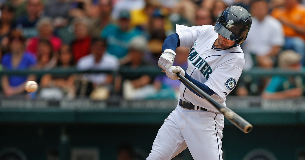 . Seattle\'s Nick Franklin uncoils for a three-run home run to right field off Twins starter Kyle Gibson in the fourth inning.  (Photo by Otto Greule Jr/Getty Images)