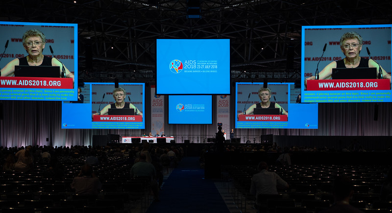 22nd International AIDS Conference (AIDS 2018) Amsterdam, Netherlands.   Copyright: Steve Forrest/Workers' Photos/ IAS  Photo shows: Françoise Barré-Sinoussi, Institut Pasteur, France, during the Thursday Plenary, Breaking barriers and building bridges between our responses toward universal health.