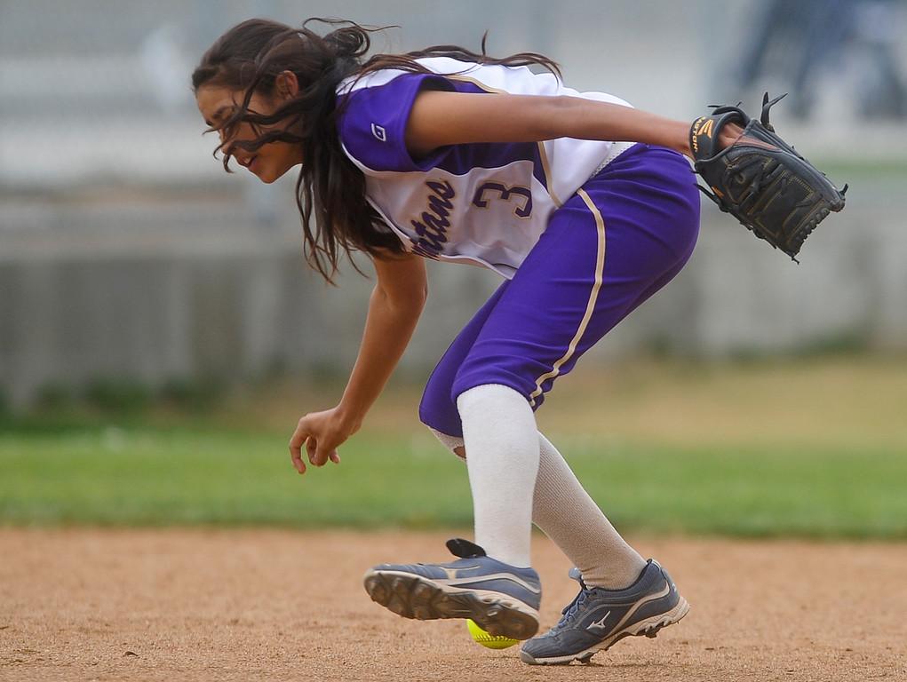 . Citrus Valley varsity softball faces Jurupa Hills High School in Fontana on Tuesday, May 7, 2013. Jurupa Hill defeated Citrus Valley 2-3. (Rachel Luna / Staff Photographer)