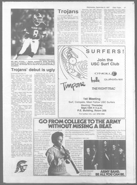 Daily Trojan, Vol. 105, No. 5, September 09, 1987