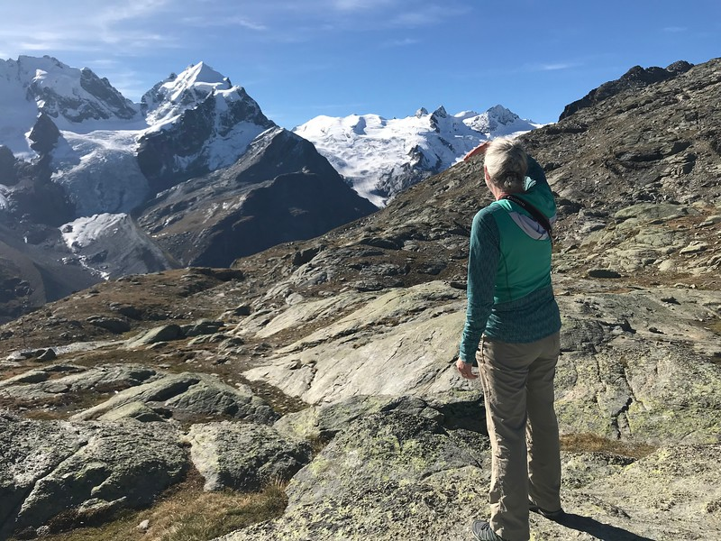 Looking at Piz Roseg from near Fuorcla Surlej - short hike from Corvatsch Mittelstation Murtel