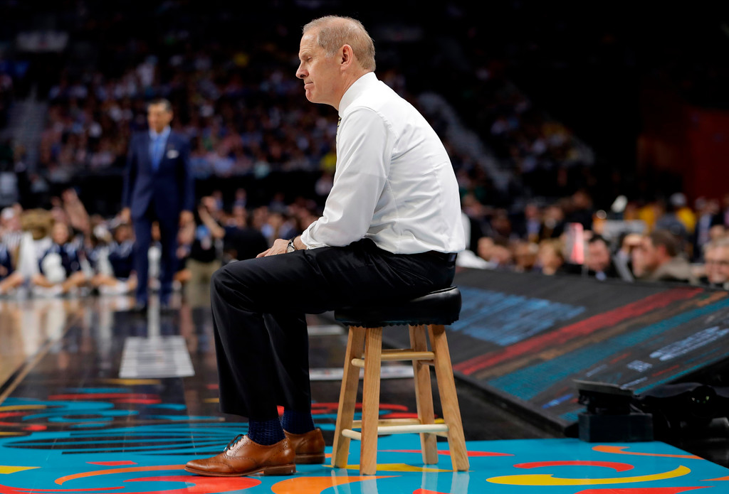 . Michigan head coach John Beilein watches during the second half in the championship game of the Final Four NCAA college basketball tournament against Villanova, Monday, April 2, 2018, in San Antonio. (AP Photo/Eric Gay)